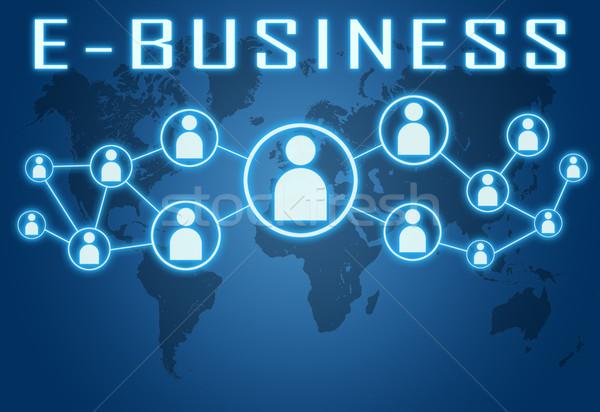 Blauw wereldkaart sociale iconen business winkelen Stockfoto © Mazirama