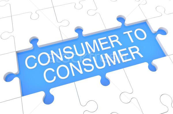 Tüketici bilmece 3d render örnek kelime mavi Stok fotoğraf © Mazirama