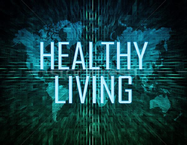 Gezond leven tekst groene digitale wereldkaart fitness Stockfoto © Mazirama