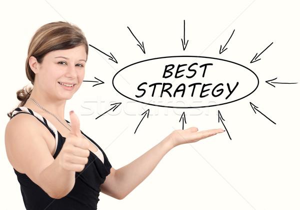 Meilleur stratégie jeunes femme d'affaires processus informations Photo stock © Mazirama