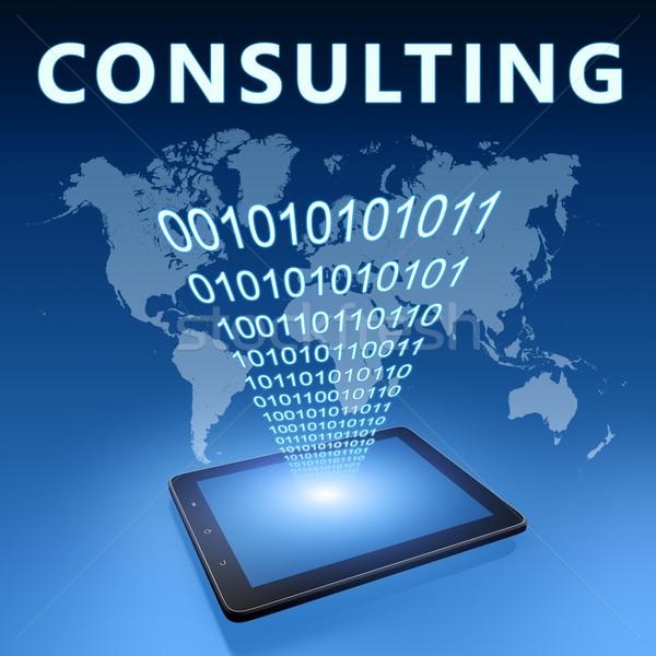Consulenza illustrazione blu internet tecnologia Foto d'archivio © Mazirama