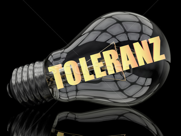 Palabra tolerancia bombilla negro texto 3d Foto stock © Mazirama