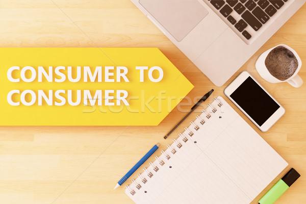 Consumatore lineare testo arrow notebook smartphone Foto d'archivio © Mazirama