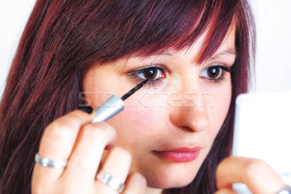 Wellness jonge mooie vrouw eyeliner ooglid Stockfoto © Mazirama