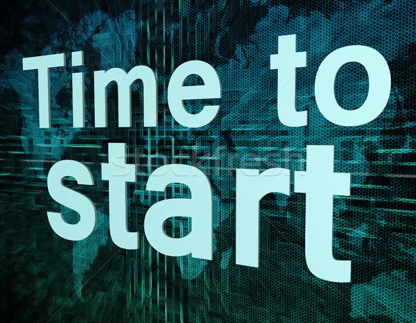 Tijd start woorden digitale wereldkaart business Stockfoto © Mazirama