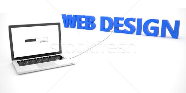 веб-дизайна ноутбука ноутбук компьютер слово белый Сток-фото © Mazirama