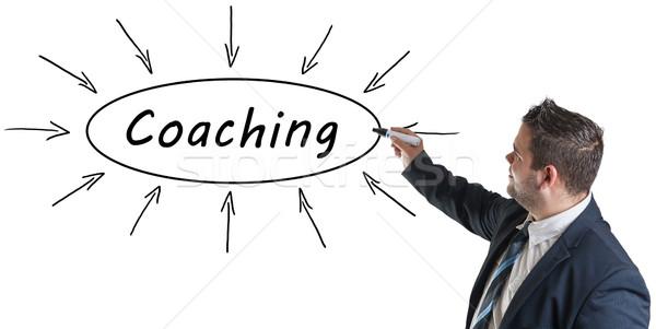 コーチング 小さな ビジネスマン 図面 情報 ホワイトボード ストックフォト © Mazirama