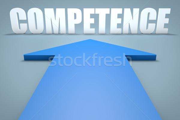 Kompetencja 3d niebieski arrow wskazując komunikacji Zdjęcia stock © Mazirama