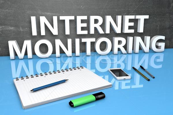 インターネット モニタリング 文字 黒板 ノートブック ペン ストックフォト © Mazirama