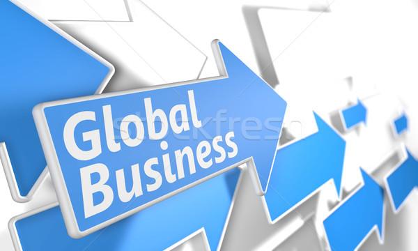 Global de negócios 3d render azul branco voador Foto stock © Mazirama