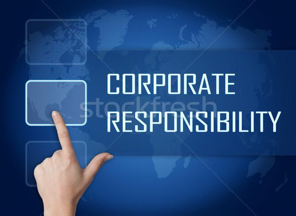 Foto d'archivio: Corporate · responsabilità · interfaccia · mappa · del · mondo · blu · mondo