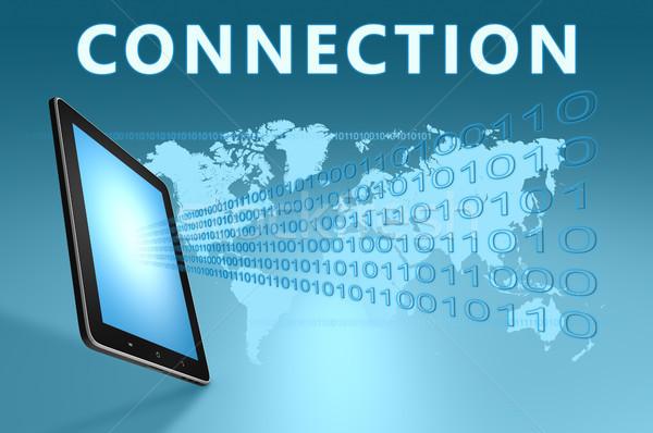 Verbindung Illustration Tablet-Computer blau Computer Technologie Stock foto © Mazirama