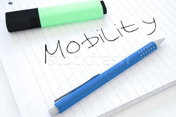 Mobilité texte portable bureau rendu 3d Photo stock © Mazirama