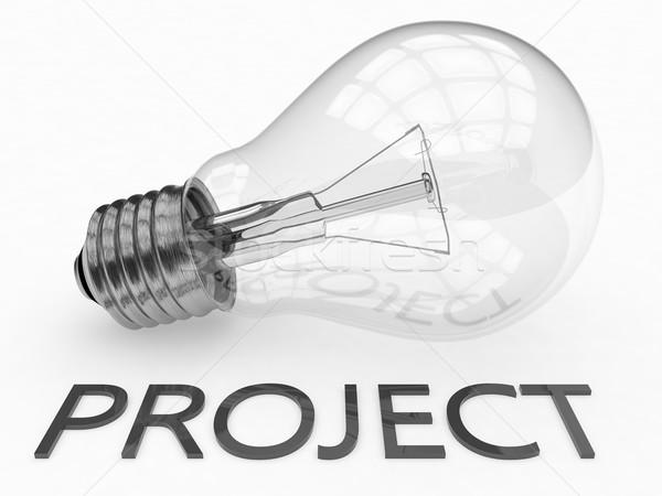 Projekt villanykörte fehér szöveg 3d render illusztráció Stock fotó © Mazirama