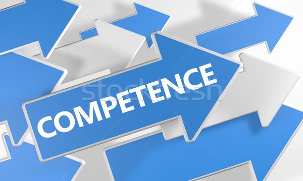 Stock fotó: Kompetencia · 3d · render · kék · fehér · nyilak · repülés