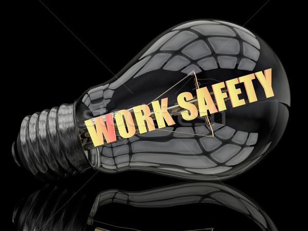 работу безопасности лампочка черный текста 3d визуализации Сток-фото © Mazirama