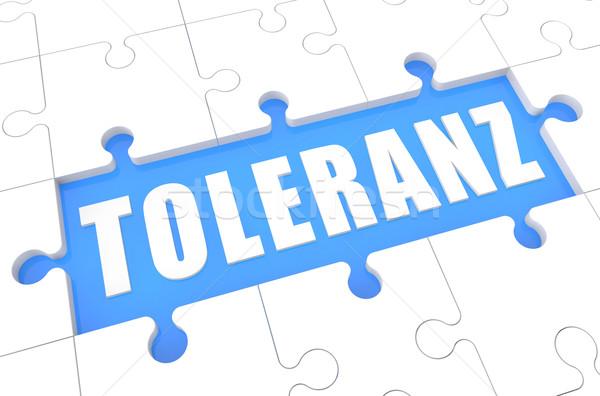 Palabra tolerancia rompecabezas 3d ilustración azul Foto stock © Mazirama