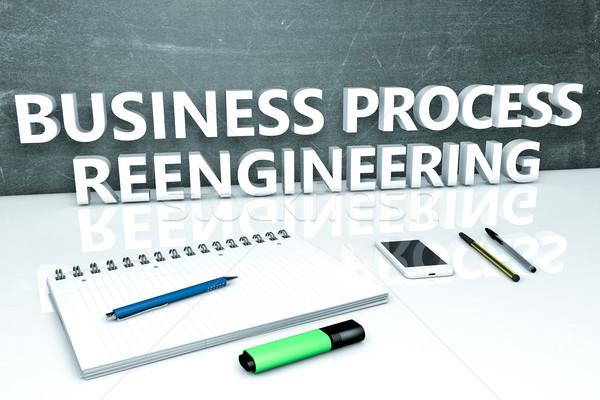 бизнеса процесс текста доске ноутбук ручках Сток-фото © Mazirama