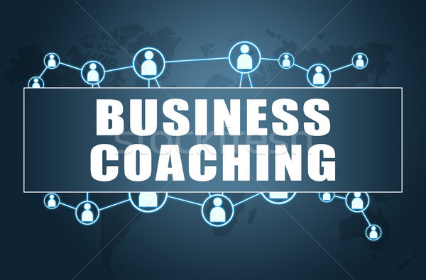 Business Coaching Text blau Weltkarte sozialen Stock foto © Mazirama