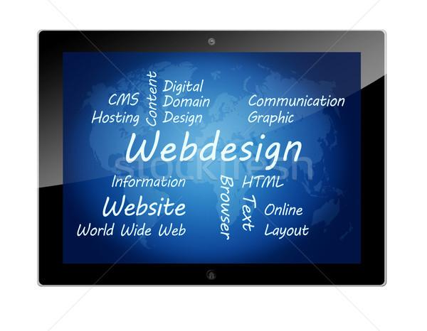 Tabletta webdesign táblagép szófelhő illusztráció absztrakt Stock fotó © Mazirama