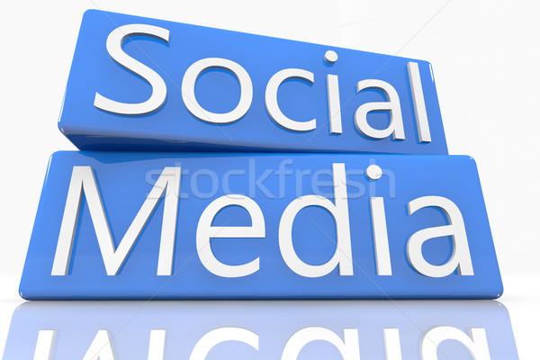 Blue Box Social Media Stock photo © Mazirama