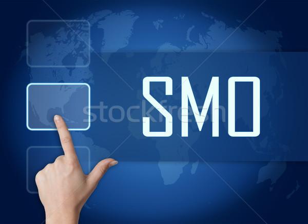 Foto stock: Medios · de · comunicación · social · optimización · interfaz · mapa · del · mundo · azul · negocios