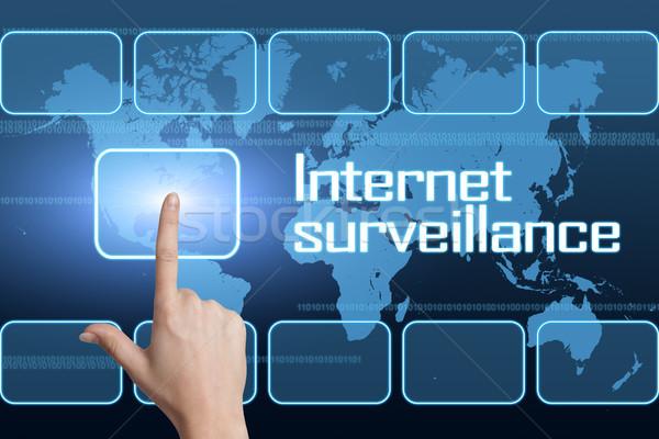интернет наблюдение интерфейс Мир карта синий безопасности Сток-фото © Mazirama