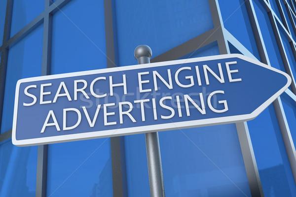 Сток-фото: поисковая · реклама · иллюстрация · улице · подписать · офисное · здание · морем