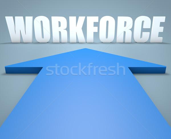Munkaerő 3d render kék nyíl mutat megbeszélés Stock fotó © Mazirama
