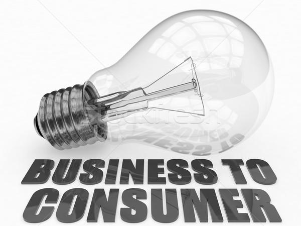 Affaires consommateur ampoule blanche texte rendu 3d Photo stock © Mazirama