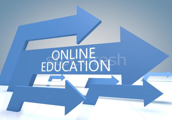 Online oktatás render kék nyilak üzlet Stock fotó © Mazirama