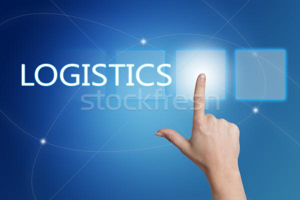 Logisztika kéz kisajtolás gomb interfész kék Stock fotó © Mazirama