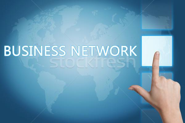 Business network iş el düğme dokunmatik ekran Stok fotoğraf © Mazirama