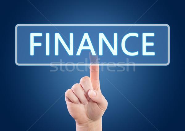 Stock fotó: Pénzügy · kéz · kisajtolás · gomb · interfész · kék