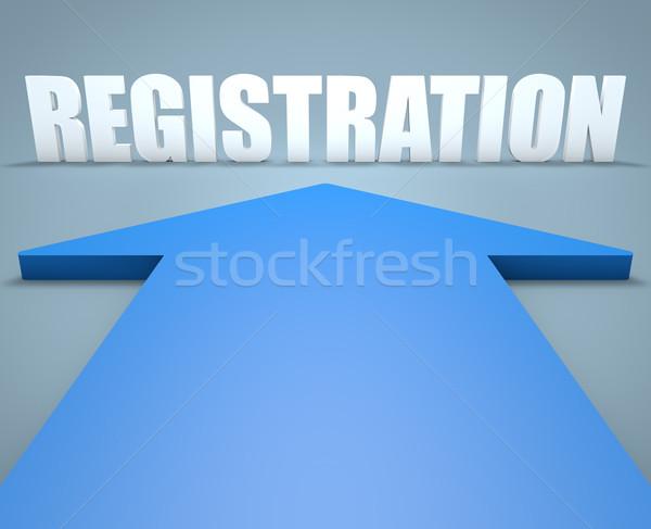 Registratie 3d render Blauw pijl wijzend business Stockfoto © Mazirama