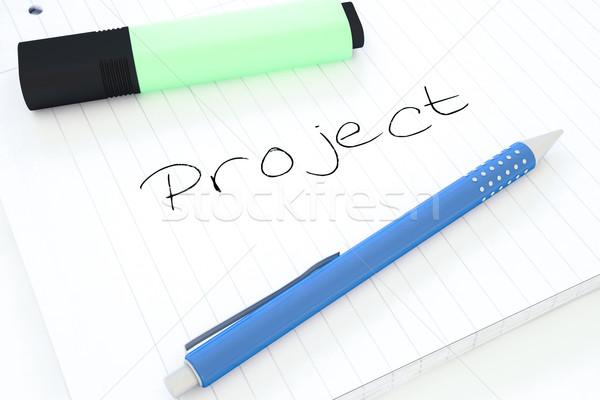 Projektu tekst notebooka biurko 3d Zdjęcia stock © Mazirama