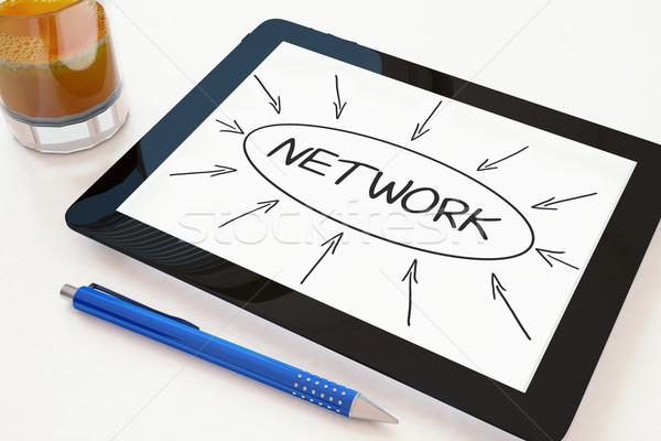 Stock fotó: Hálózat · szöveg · mobil · táblagép · asztal · 3d · render