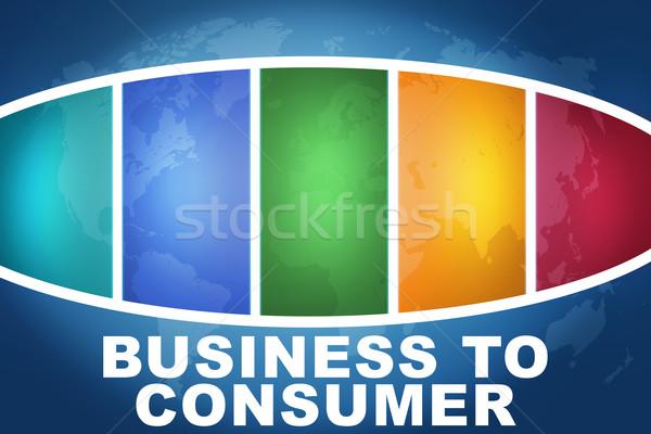 Business consument tekst illustratie Blauw kleurrijk Stockfoto © Mazirama