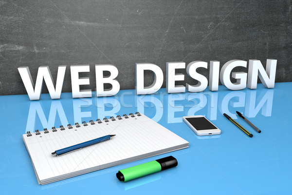 веб-дизайна текста доске ноутбук ручках мобильного телефона Сток-фото © Mazirama