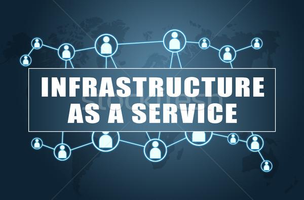 Infrastructuur dienst tekst Blauw wereldkaart sociale Stockfoto © Mazirama