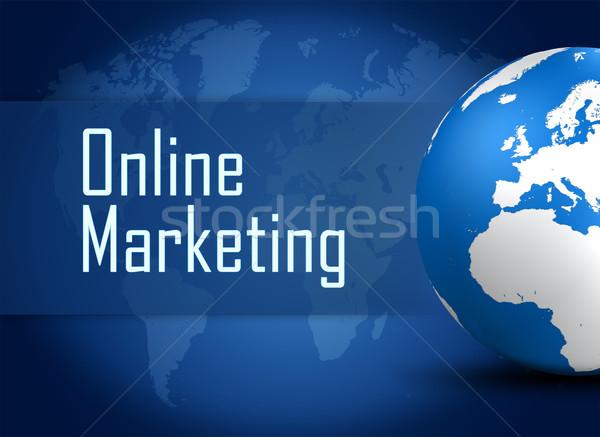 Online marketing wereldbol Blauw wereldkaart textuur internet Stockfoto © Mazirama