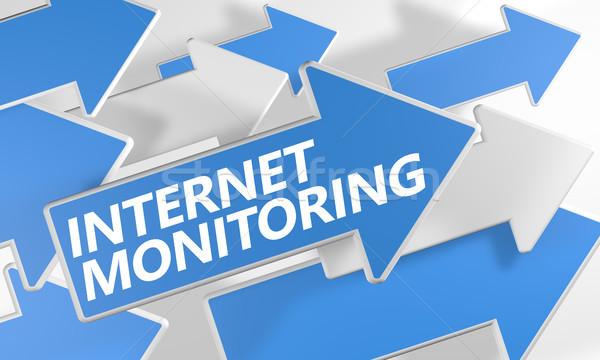 インターネット モニタリング 3dのレンダリング 青 白 ストックフォト © Mazirama