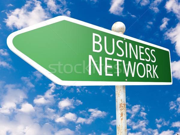 Zdjęcia stock: Business · network · podpisania · ulicy · ilustracja · Błękitne · niebo · chmury · działalności