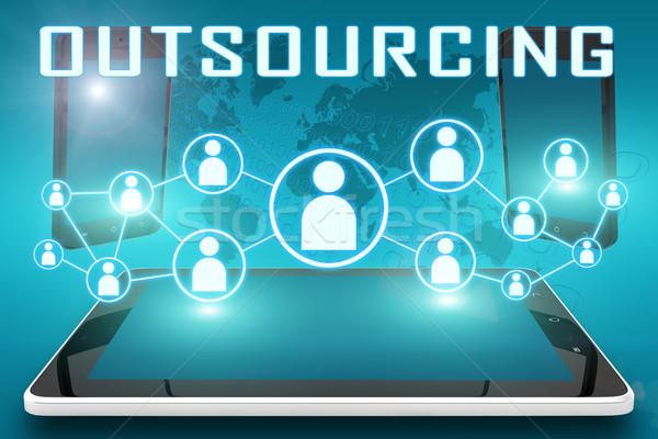 Outsourcing tekst illustratie sociale iconen Stockfoto © Mazirama
