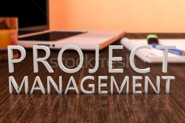 Projektu zarządzania litery biurko laptop Zdjęcia stock © Mazirama