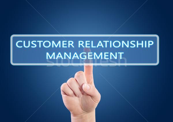 Vásárló kapcsolat vezetőség kéz kisajtolás gomb Stock fotó © Mazirama