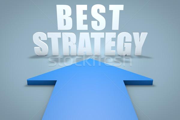 Meilleur stratégie rendu 3d bleu flèche pointant Photo stock © Mazirama