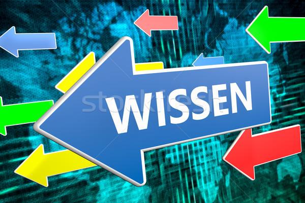 Woord kennis tekst Blauw pijl vliegen Stockfoto © Mazirama
