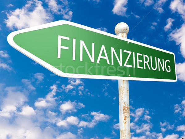 Kelime finansman sokak işareti metin örnek mavi gökyüzü Stok fotoğraf © Mazirama
