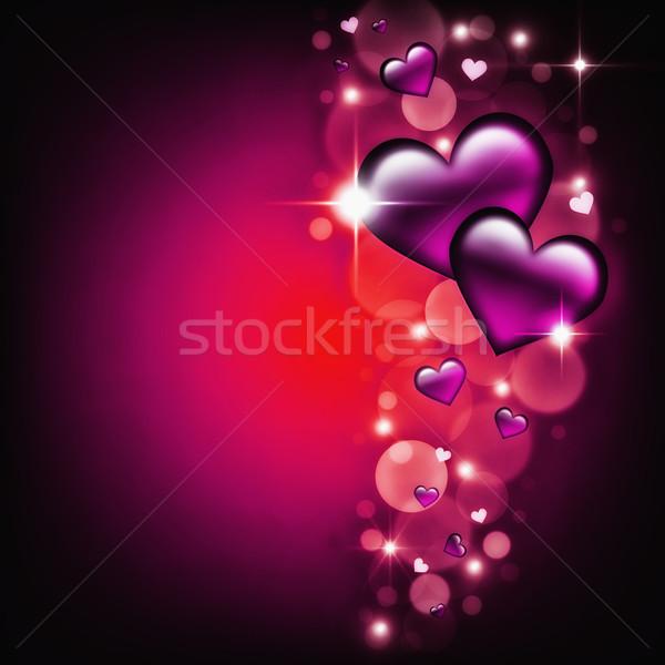 Sevgililer günü kart mor kalpler karanlık parıltı Stok fotoğraf © Mazirama